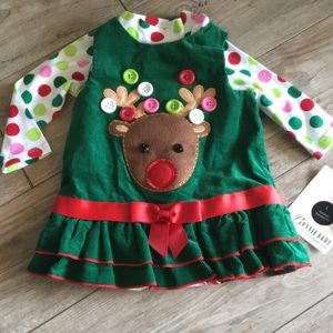 NWT 6-9 mo Christmas outfit Bonnie baby